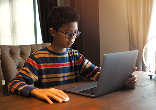 Computer Vision Syndrome | photo of Asian boy looking at laptop screen