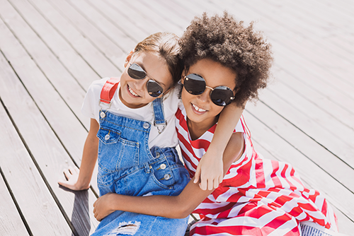 sunglasses for children | photo of two young girls wearing sunglasses